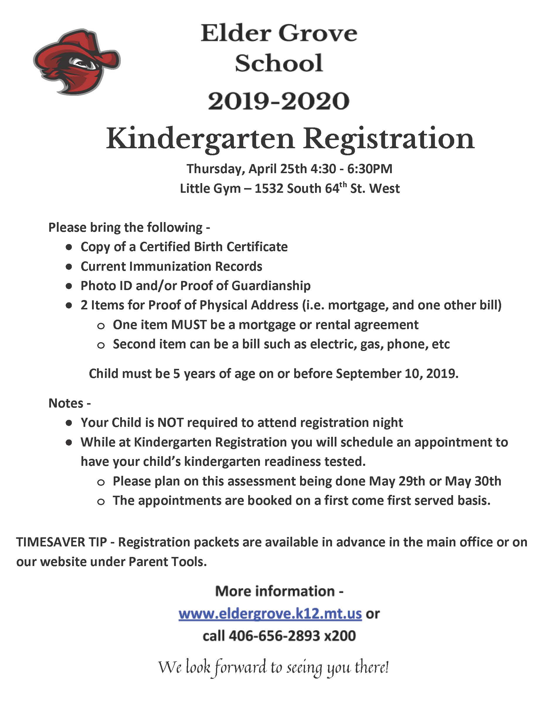 Kindergarten Registration Flyer
